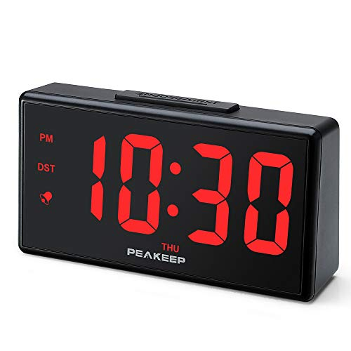 "PEAKEEP 6.8 Large Night Light Digital Alarm Clock with USB Charging Port, Dimmers for 1.8"" Digits and Nightlight, High Low Loud Alarm Volume, Day, DST, AC Powered for Bedrooms Bedside"