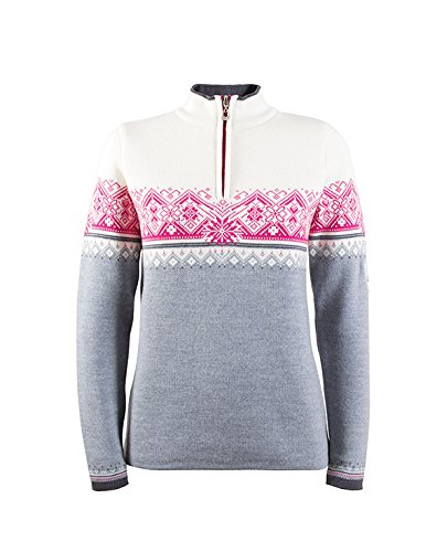 Dale of Norway Women's St. Moritz Athletic Sweaters, Medium, Grey/Schiefer/Allium/Off White