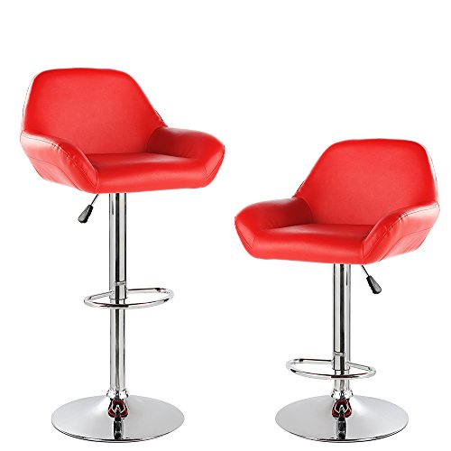 KERLAND PU Leather Modern Design Swivel Adjustable Seat Height Home Kitchen Bar Stool Chair With Padded Back And Chrome Footrest (set of 2), Red - Chrome Two Seat Bar Stool
