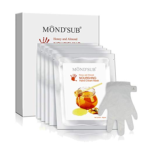 5 Pairs of MOND'SUB Anti-Aging Hand Mask - Nuritious Honey and Almond Best Hydrating Hand & Nail Mask - Best Moisturizing Gloves for Dry Hands to Nourishing,Softening,Hydrating and Protecting Skins ()