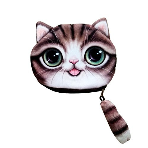Cat Face Wallet Abcmall Vivid Cute 3d Cat Head Tail Zipper Closure