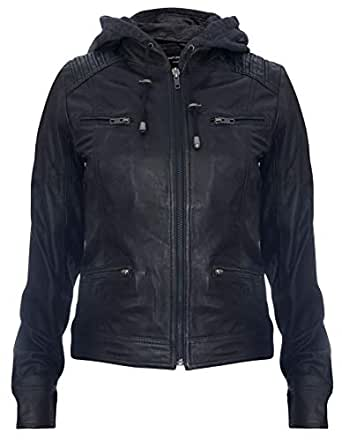 Women's Black Hooded 100% Nappa Leather Jacket 10