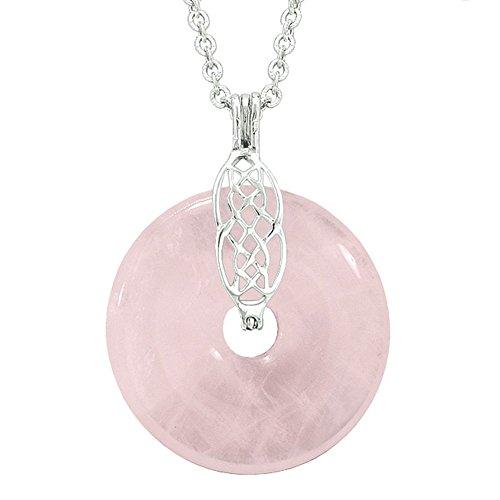 Nœud celtique Shield Protection Magic Pouvoirs Amulette Quartz Rose Lucky Donut Pendentif Collier de 55,9cm