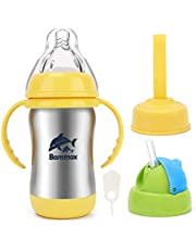 Bammax Baby Bottle Sippy Cup Straw Trainer Cup, 3-in-1 Stainless Steel Baby Water Bottle with Soft Silicon Spout, Heat Preservation Spill-Proof, 180ml