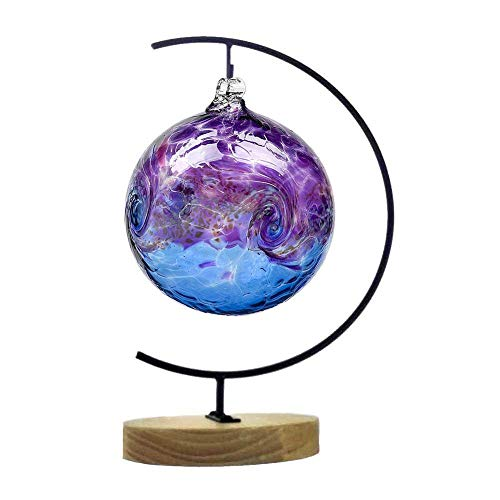Theia Ornament Display Stand Metal Iron Hanging Holder Hook for Hanging Glass Globe Air Plant Terrarium Witch Ball and Home Wedding (Wood) ()