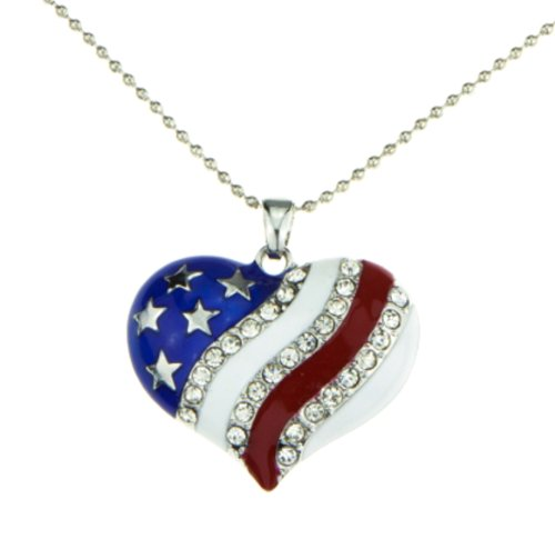 Patriotic Jewelry (Patriotic Jewelry American Flag Red White Blue Heart Necklace Pendant Crystal Stars and Stripes)