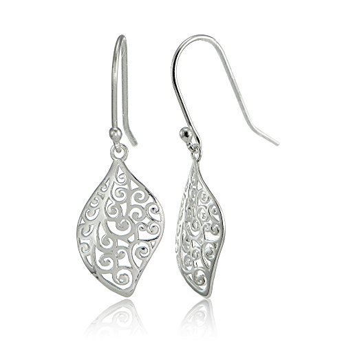 (Sterling Silver Filigree Cut Scroll Design Leaf Shape Earrings)