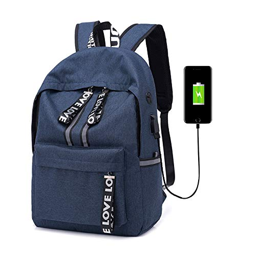 Mountaineering grey Women Computer Bag Breathable Travel Picnic Zhjb Fashion College Blue Wearable And Backpack Casual Charging Outdoor Students Bag Men Trend Wild Usb 1qEAwag