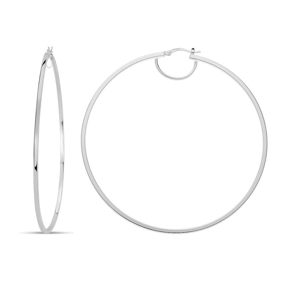 94169e5cc LeCalla Sterling Silver Rhodium Plated BIG 80mm Italian LARGE Hoop Earrings  for Women: Amazon.co.uk: Jewellery