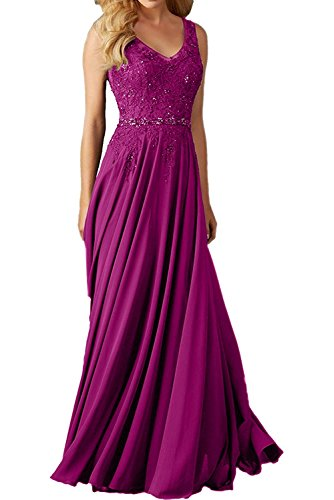 Faironline Women's V Neck Appliques Prom Dress Long Beaded Evening Party Gowns Size 18 Fuchsia ()