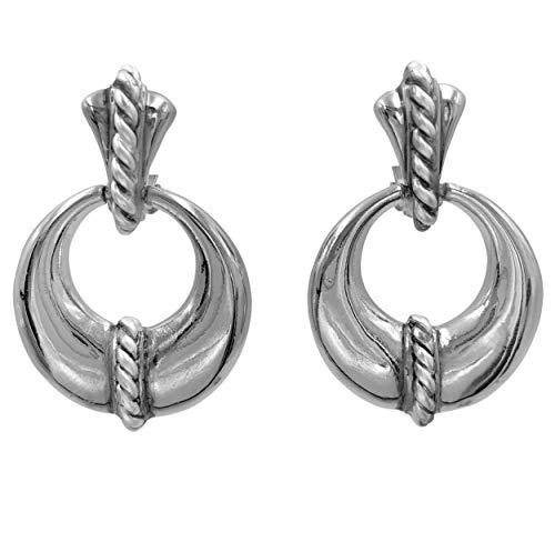 (Classic Simple Clip On Earrings (Silver Tone Door Knocker) )