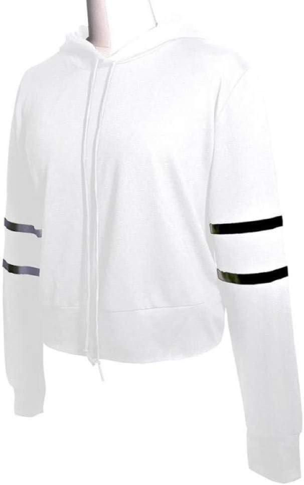 EIJFKNC Sweatshirt Art und Weise Frauen beiläufiges Buchstabe-langes Hülsen-Oansatz Sweatshirt Frauen-Sweatshirt WH