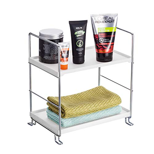 KINGBERWI 2-Tier Standing Storage Shelf Kitchen Bathroom Countertop Stackable Organizer Spice Rack Holder, Silver ()