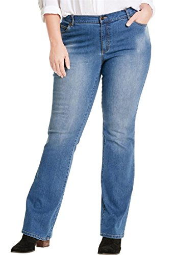 Women's Plus Size Petite Low-Rise Stretch Bootcut Jean Light Stonewash (Low Stretch Bootcut Jeans)