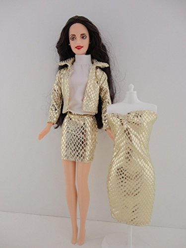 Belle Mini Mix - Set of 4 Pcs Gold Metallic Snake Skin Dress, Mini Skirt Jacket and White Shirt Great to Mix and Match