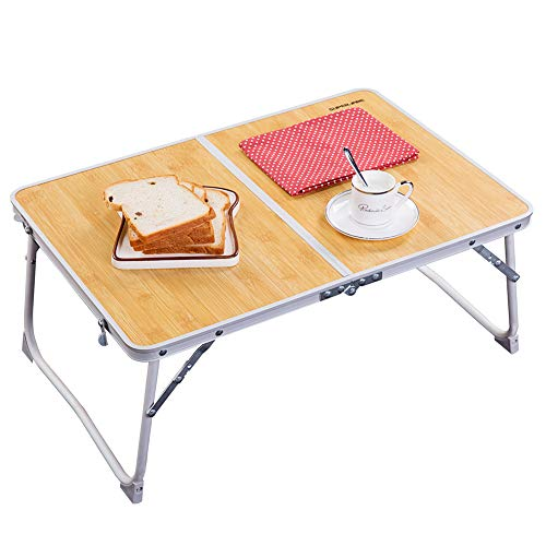 Foldable Laptop Table | Superjare Bed Desk | Breakfast Serving Bed Tray | Portable Mini Picnic Table & Ultra Lightweight | Folds in Half w' Inner Storage Space - Bamboo Wood Grain