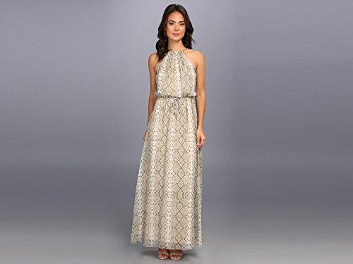 Vince Camuto Women's Blouson Printed Chiffon Maxi w/ Snake Chain Halter Detail Rattle/Natural Dress 6
