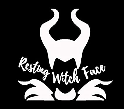 Makarios Llc Maleficent Resting Witch Face Cars Trucks Vans Walls Laptop Mkr White 5 5 X 5 25 Mkr671