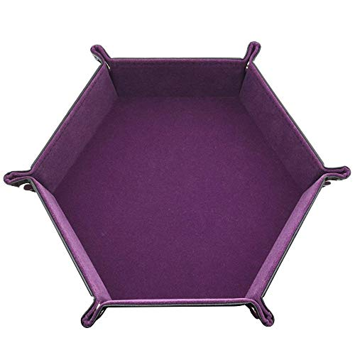 Dice Tray,Dice PU Leather Folding Hexagon Tray w/Purple Velvet for RPG, DND, Other Dice Games and Storage,Easy to Carry