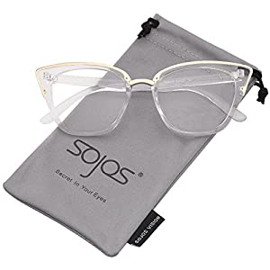 SojoS Cat Eye Brand Designer Sunglasses Fashion UV400 Protection Glasses SJ2052 with Clear Frame/Clear Lens