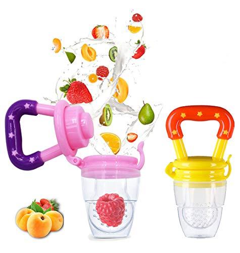 - 2 Pack Fresh Food & Fruit Feeding Pacifier - Silicone Teething Pacifiers | Great Baby Nibbler Food Feeder Teether | Baby Feeding Teething Toys Set for Toddlers & Kids (Medium, Pink/Yellow)