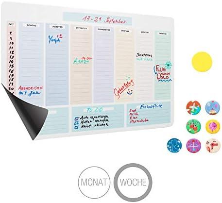Amazy magnetischer Wochenplaner inkl. 7 Magnete und Radierer – Abwischbarer Kühlschrank Kalender für eine organisierte Woche