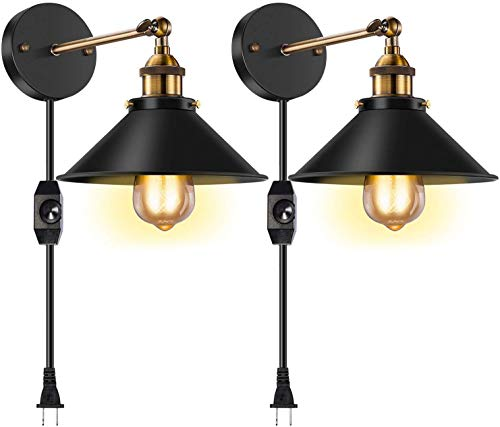 Licperron Dimmable Wall Sconce Plug in, Vintage Antique Style 240 Degree Adjustable Industrial Wall Light with UL Dimmable Switch for Restaurants Bathroom Dining Room Kitchen Bedroom 2 Pack