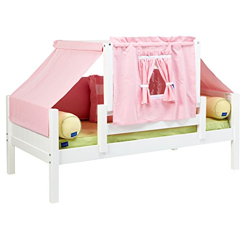 Maxtrix Solid Hardwood Twin-Size Toddler Daybed with Front and Back Guard Rails and Top Tent, White Finish, Pink and White Fabric