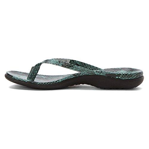 Vionic Selena Corfú - Zapatos mujer Zapato abierto / Chanclas de dedo, Verde, cuero, altura de tacón: 15 mm
