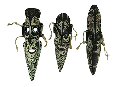 Things2Die4 Set of 3 Hand Carved African Tribal Style Wooden Wall Masks