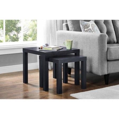 Parsons Living Dining Room Side Nesting Coffee Tables, 2-Piece Table Set, Black Oak by Mainstay