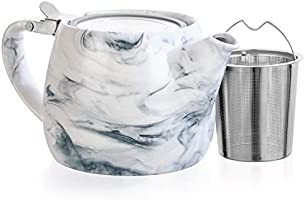 Tealyra - Marble Porcelain Teapot Grey - 22-ounce (2-3 cups) - Unique Design - Extra-Fine Infuser and Stainless Steel...