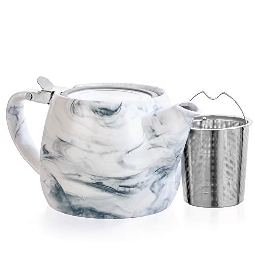 Tealyra - Marble Porcelain Teapot Grey - 22-ounce (2-3 cups) - Unique Design - Extra-Fine Infuser and Stainless Steel Lid - Infuse Loose Leaf Tea or Bags - 650ml ()