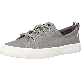 Sperry Womens Crest Vibe Linen Sneaker, Grey, 5