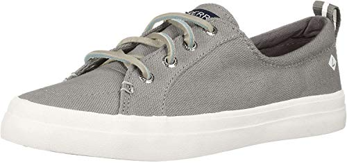 Sperry Womens Crest Vibe Linen Sneaker, Grey, 7 (Best Way To Clean Sperry Boat Shoes)