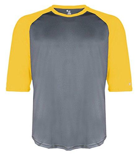 (Badger Adult Raglan-Sleeve Baseball Undershirt (4133) - Graphite/Gold BD4133 S)