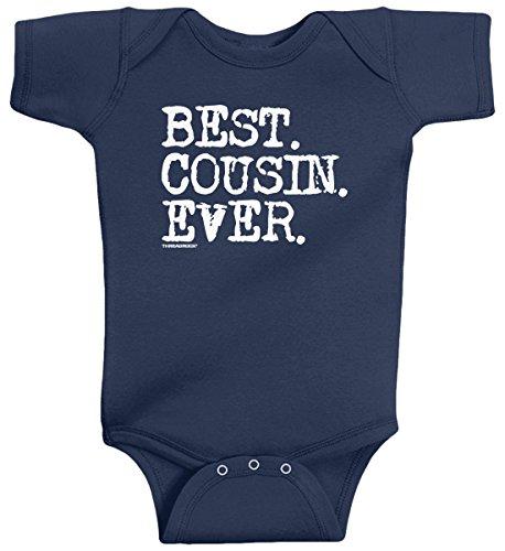 Threadrock Baby Girls' Best Cousin Ever Infant Bodysuit 6 Months Navy