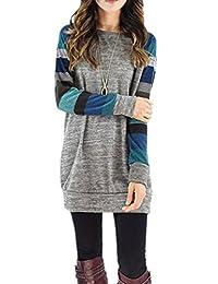 HowFitU Women's Cotton Blend Long Sleeve Lightweight Long Tunic Sweatshirt Tops