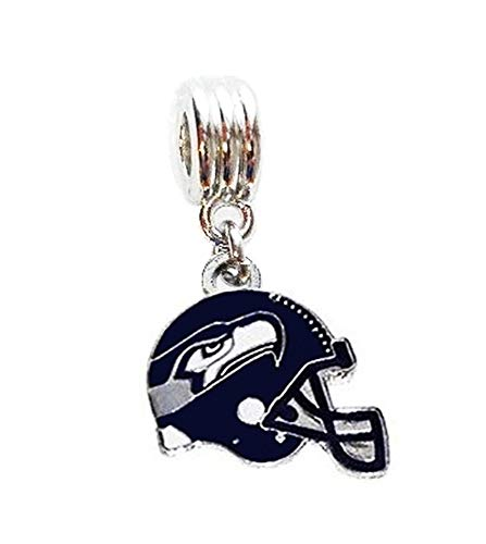 Heavens Jewelry Seattle Seahawks Football Helmet Team Charm Slider Pendant for Your Necklace European Charm Bracelet (Fits Most Name Brands) DIY Projects ETC