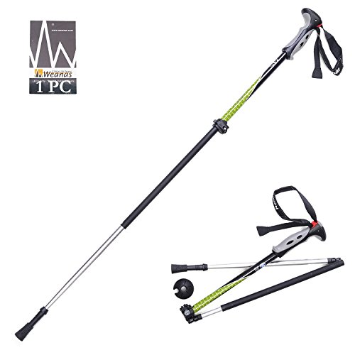 Weanas® 1pc Folding Carbon Fiber Trekking Poles, Aluminum Rubber, Alpenstock, Light Weight, Collapsible Adjustable, For Climbing Hiking Travel Backpacking Walking (Black/Green)