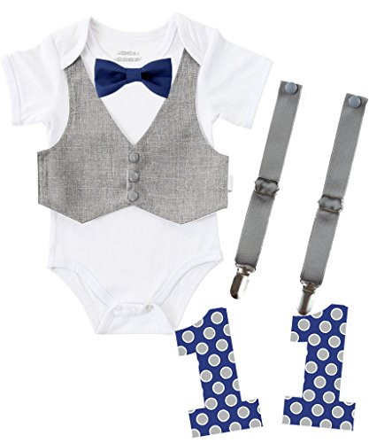 Noah's Boytique First Birthday Outfit Boy Bundle Set Cake Smash Party Bodysuit Suspenders Vest Bow Tie and Removable Number Navy and Grey Makes 4 Outfits 12-18 Months