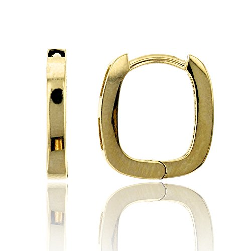 14K Yellow Gold High Polished 2.00x12.00mm Rectangle Huggie ()