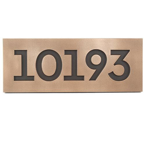 Modern Font Street Address Plaque 18.5x7 - Bronze Metal Coated up to 5 Numbers by Atlas Signs and Plaques