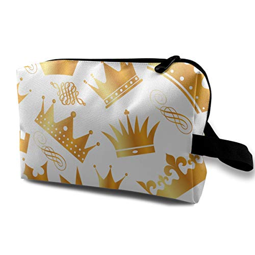 With Wristlet Cosmetic Bags Gold Crown Travel Portable Makeup Bag Zipper Wallet Hangbag ()