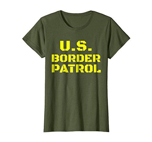 Womens American Border Patrol costume Shirt Small Olive ()