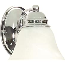 Nuvo Lighting 60/336 Empire One Light Vanity with Alabaster Glass, Polished Chrome