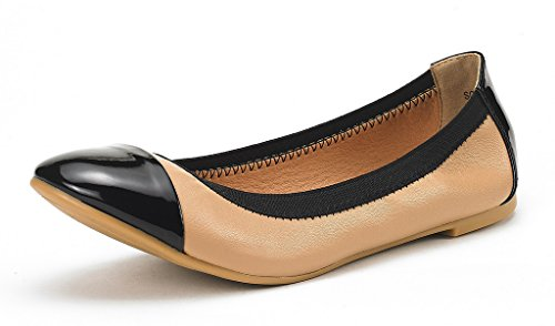 (DREAM PAIRS Women's Sole-Flex Nude Black Ballerina Walking Flats Shoes - 7 M US)