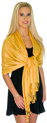 Pashmina Shawls and Wraps - Large Scarfs for Women - Party Bridal Long Fashion Shawl Wrap with Fringe by ShineGlitz (Gold)