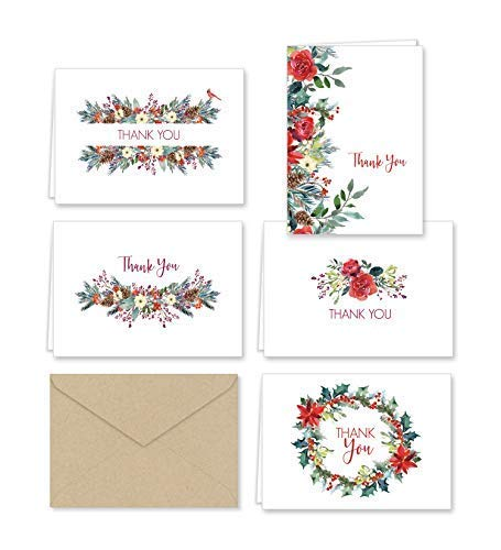 Paper Frenzy Christmas Greenery Thank You Note Cards and Envelopes - 25 pack (Winter Thank You Cards)