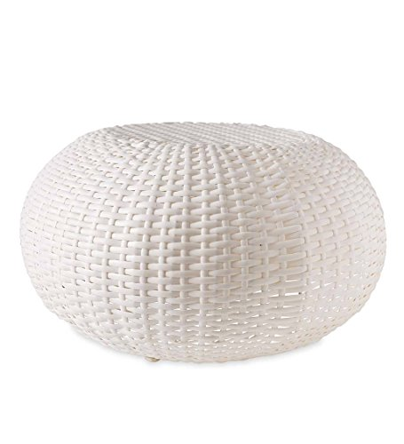 Plow & Hearth 39488-WH Tangier Wicker Footrest Pouf Patio Ottoman, Small - White ()